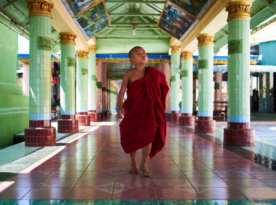 Travel photo of a young monk in a monastery