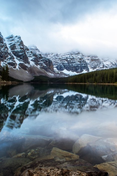 Travel photo of a lake in snowy mountains