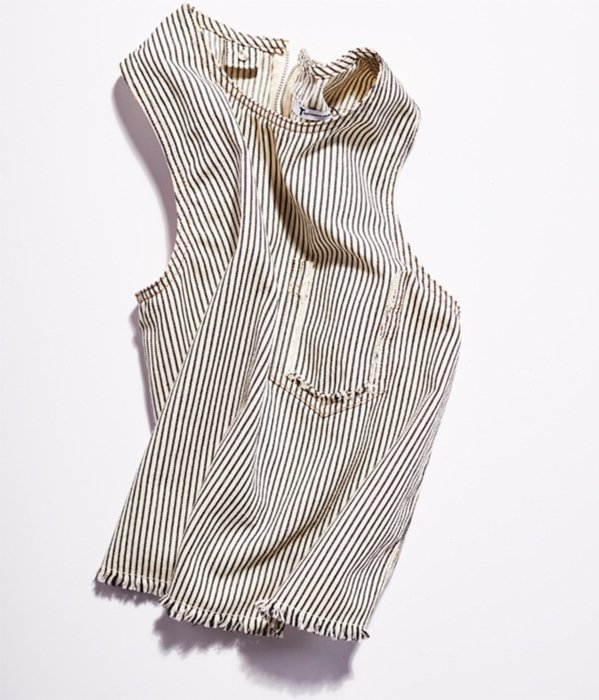 Tattered stripped vest on a white background