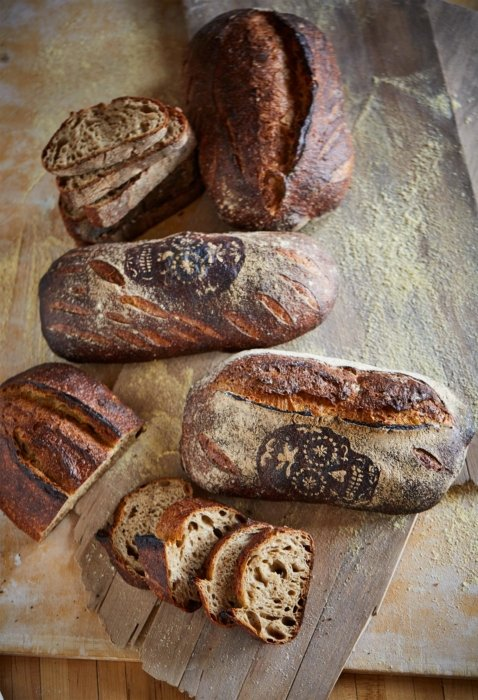 A variety of fresh baked artisan breads