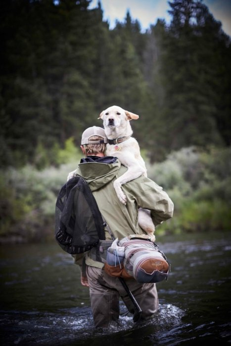 Man in fishing gear carrying dog
