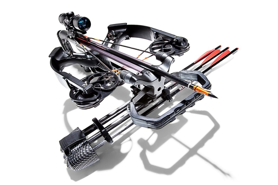 Angled scoped crossbow outdoor product