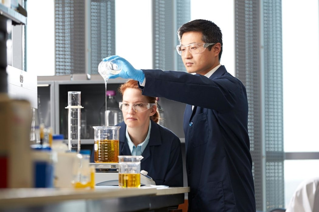Two people working in a lab