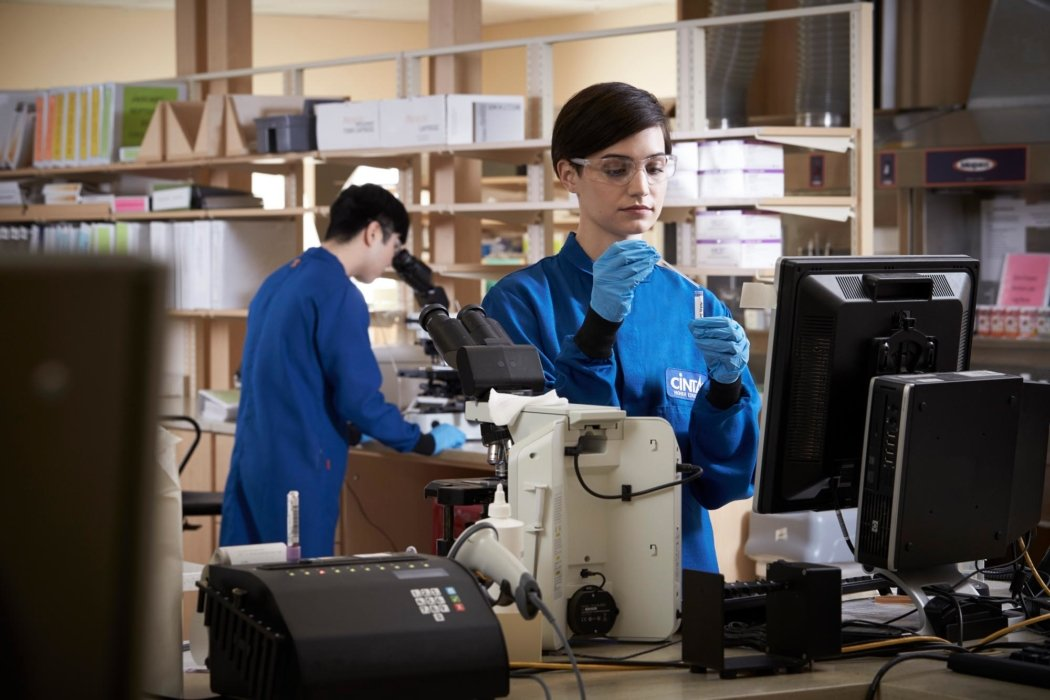 Workers in a research facility