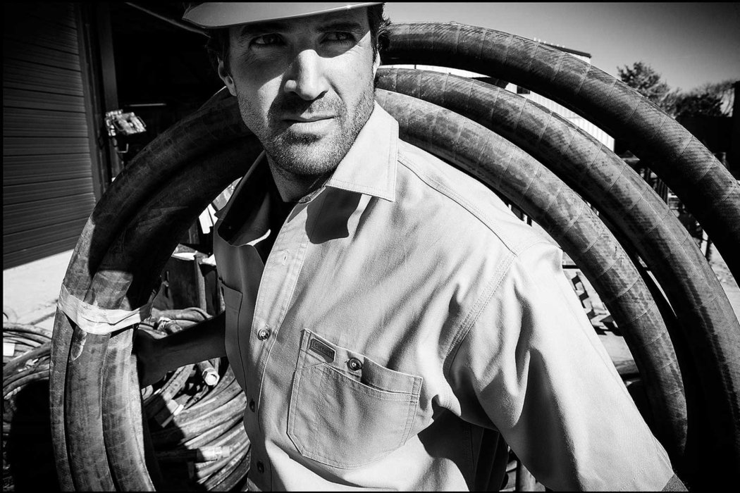 A man working in black and white