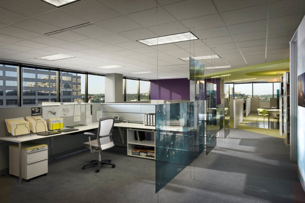 Interior architecture inside modern office building