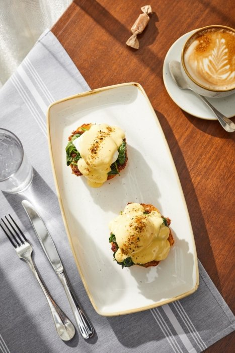 Eggs Benedict on a nice plate with cappuccino
