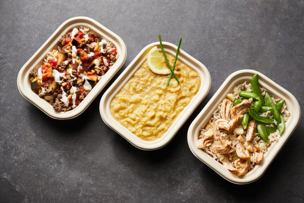 Mediterranean dinner dishes in bowls at an angle