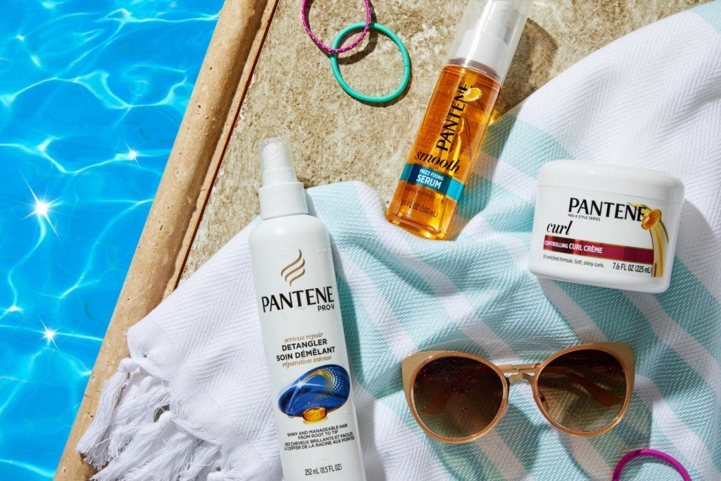 Pantene products by a pool
