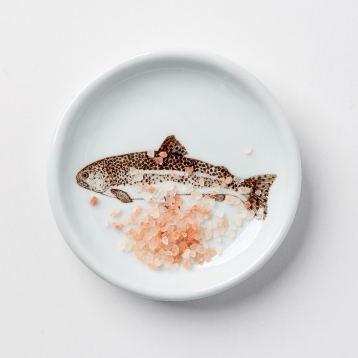 Fish plate with pink rock salt