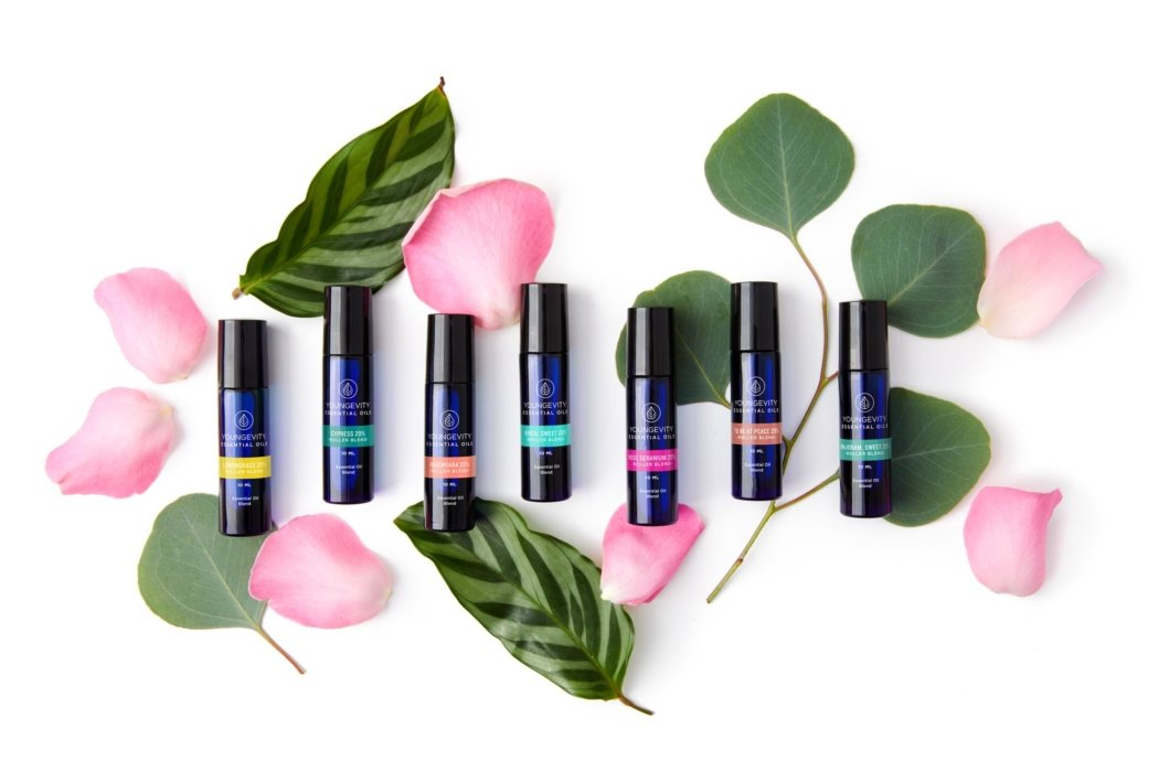 Youngevity oils with leaves and flowers pink