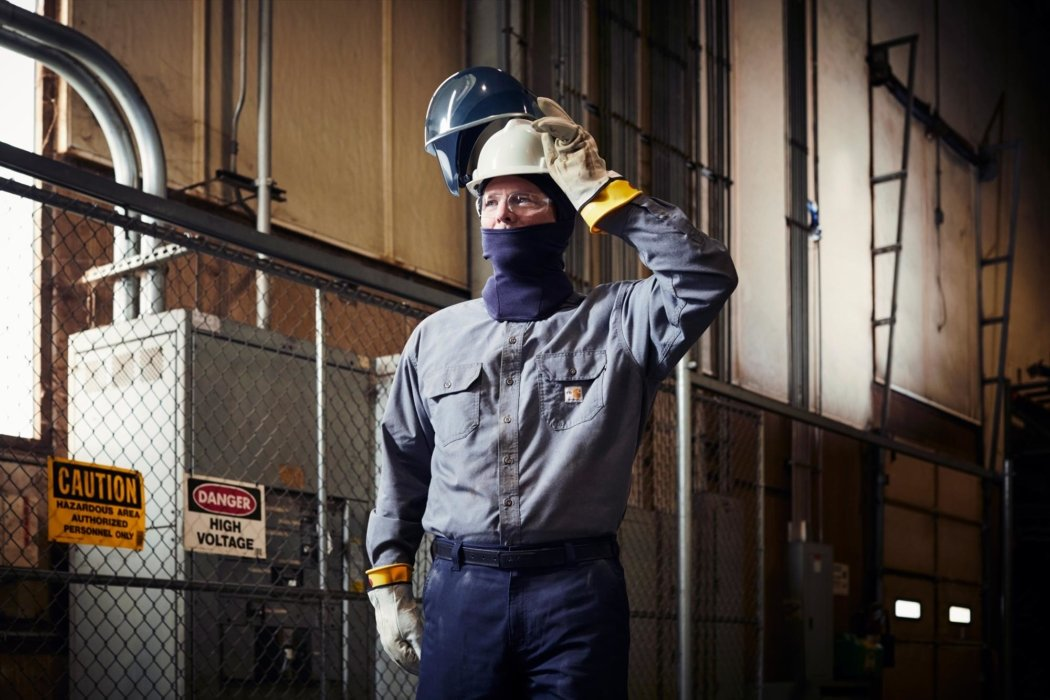 Man wearing safety gear