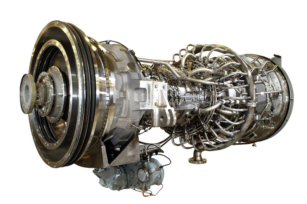 Side view of GE Aviation turbine exposed with no cover