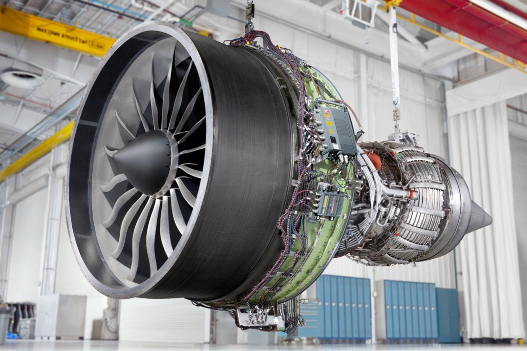 Side view of GE Aviation turbine green