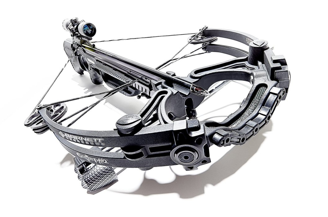 Angled crossbow on a white background