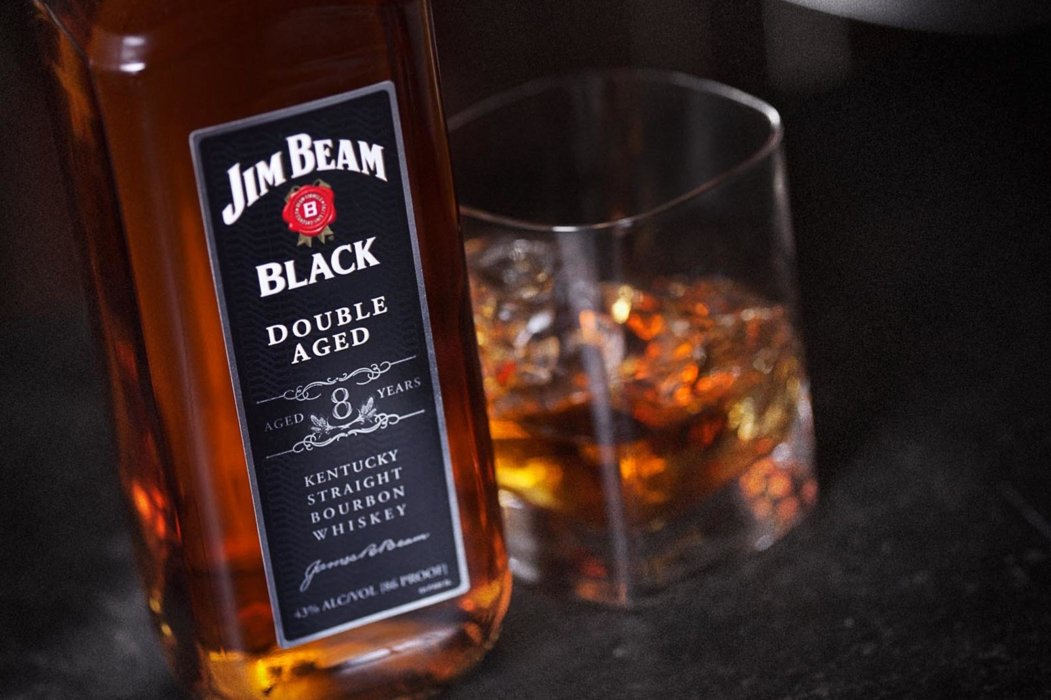 Jim beam in a glass close up and angled