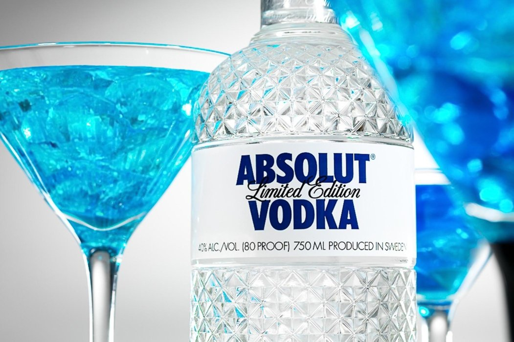 Abslout vodka and blue cocktails