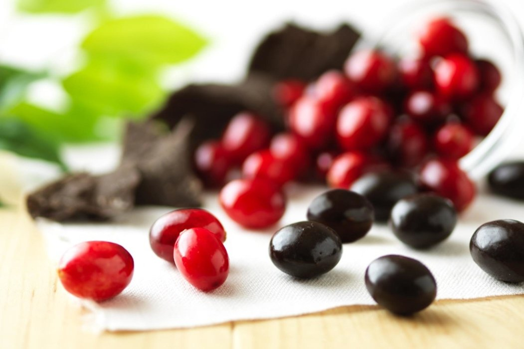 Cranberries and chocolate covered