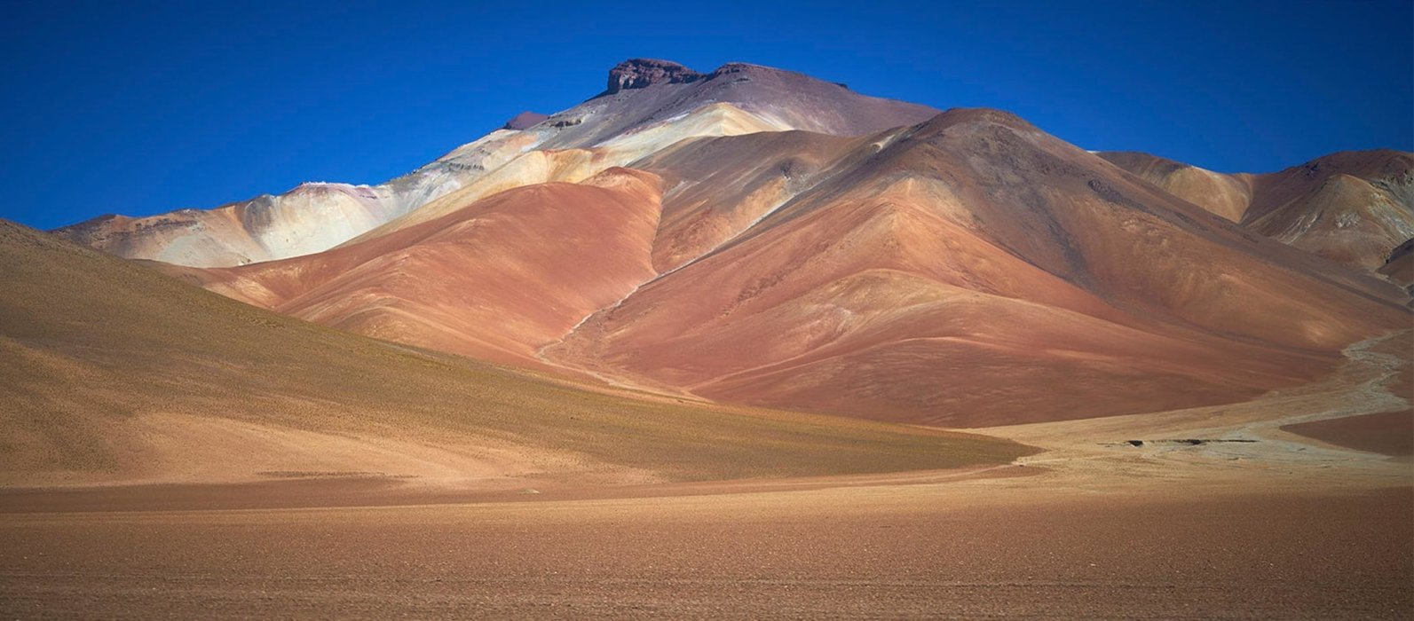 Desert with mountain and colors