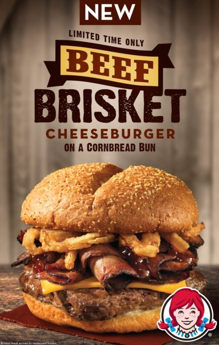 Beef brisket cheeseburger advertising