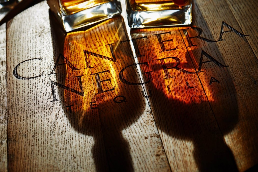 Two bottles of cantera negra tequila in the morning sun on wood - drink photography
