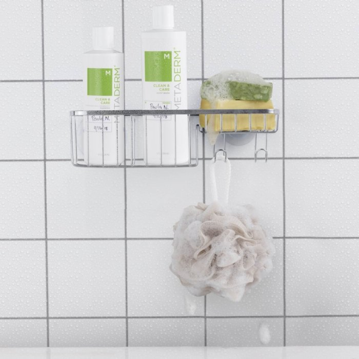 Shampoo and skin products in a shower - Cosmetics photography