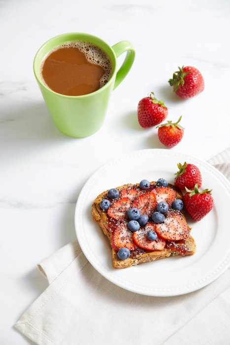 Plate of toast with fresh fruits and cup of coffee food photography