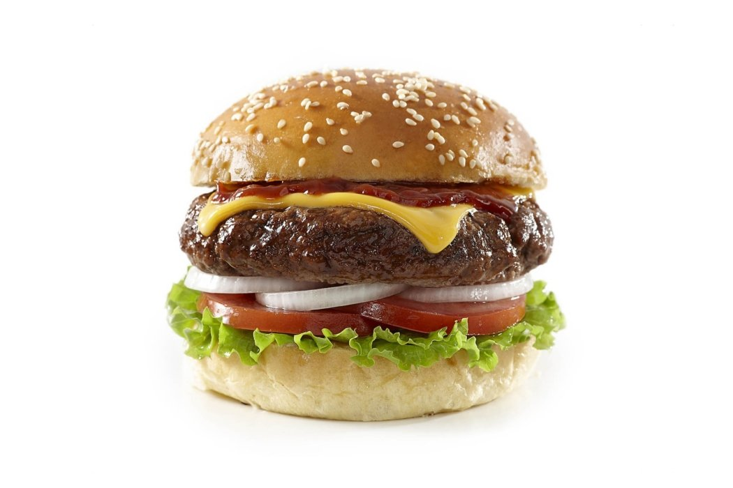 Food photography - cheese burger shot for front of Pack A1 Steak sauce