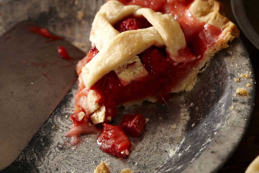 Food photography strawberry rhubarb pie. Shot as a test image with Food Stylist Mariann Sauvignon