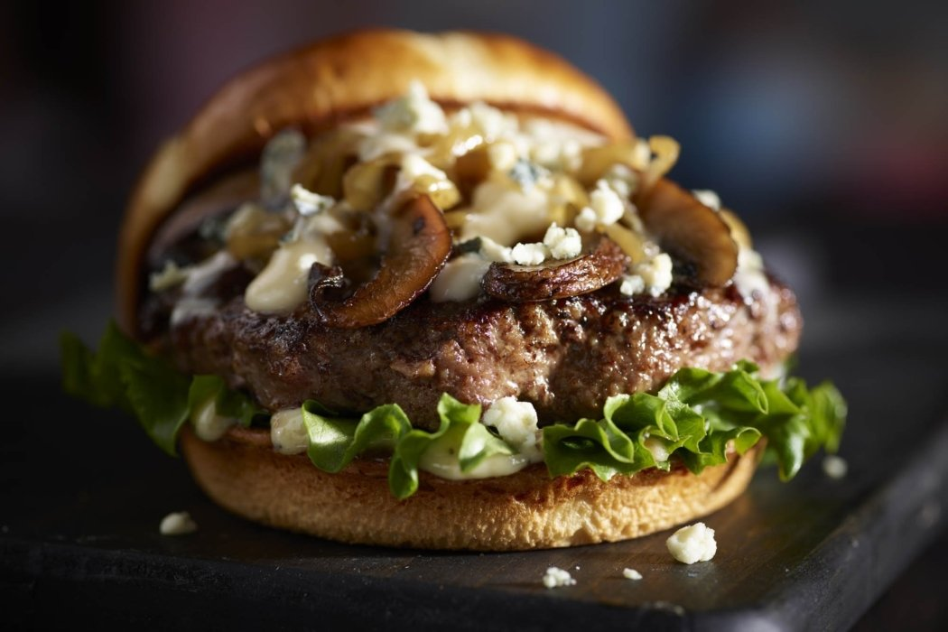 Food photography - a blue cheese burger with mushrooms