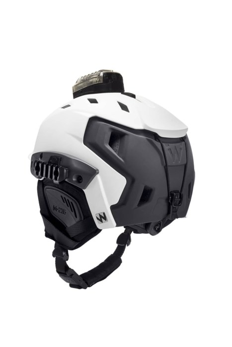 Product photography - White sports helmet with light and BOA closure system