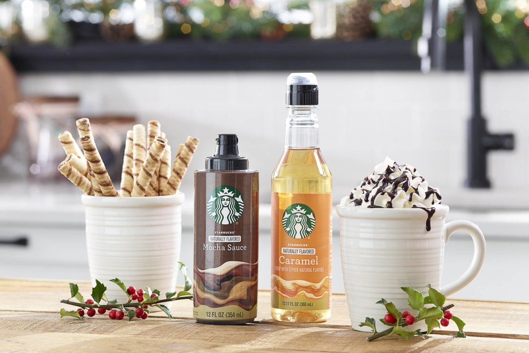 Product photography - Starbucks syrups of Mocha cause and caramel