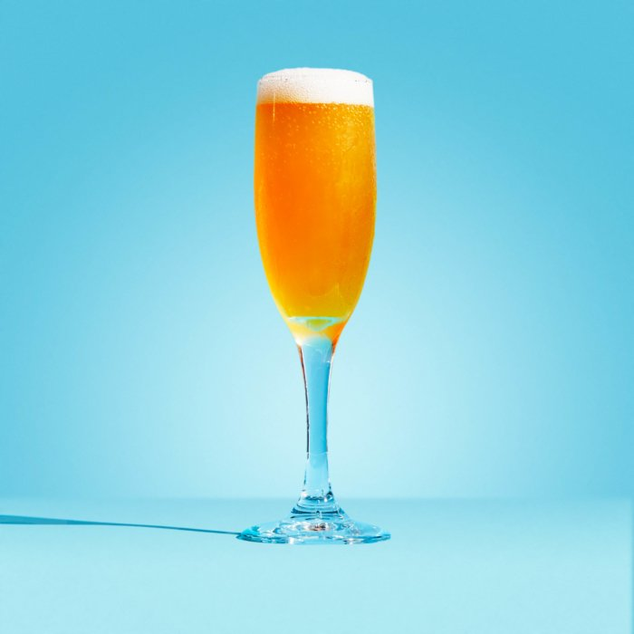 Mimosa on a blue background - Drink Photography