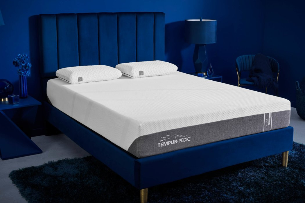 Tempur-pedic product photography in a blue room environment -- product lifestyle photography