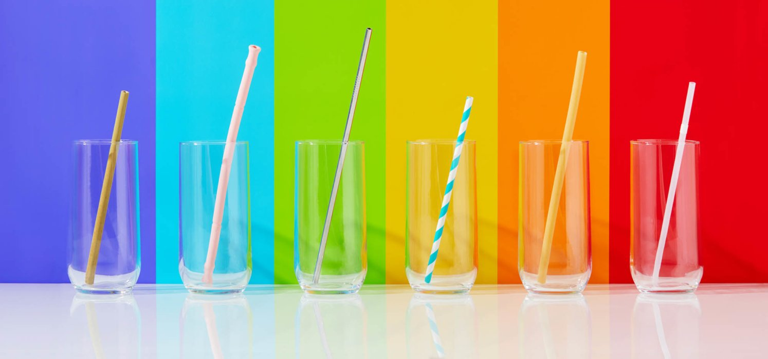 Reusable straws with colorful background - product photography