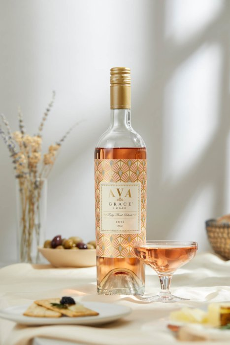A rose wine poured into a short wine glass - Drink Photography