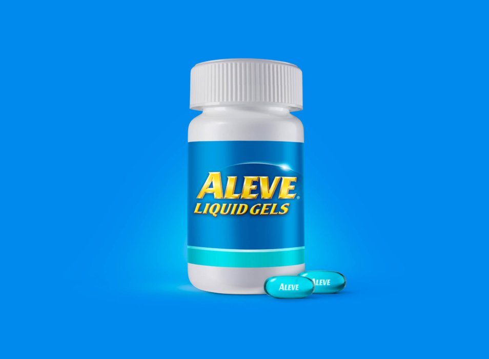 Aleve liquid gels product photography