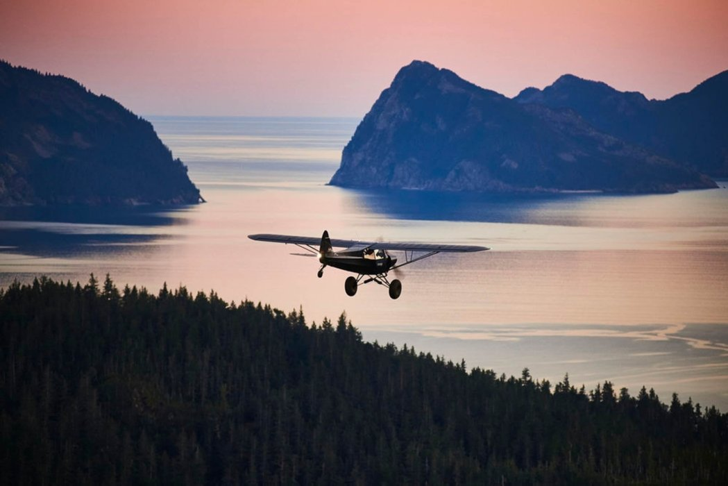 A simple prop plane flying over the water and pine forest trees