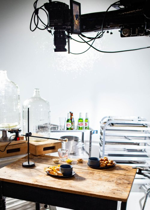 BTS on beer cheese video creation camera over table