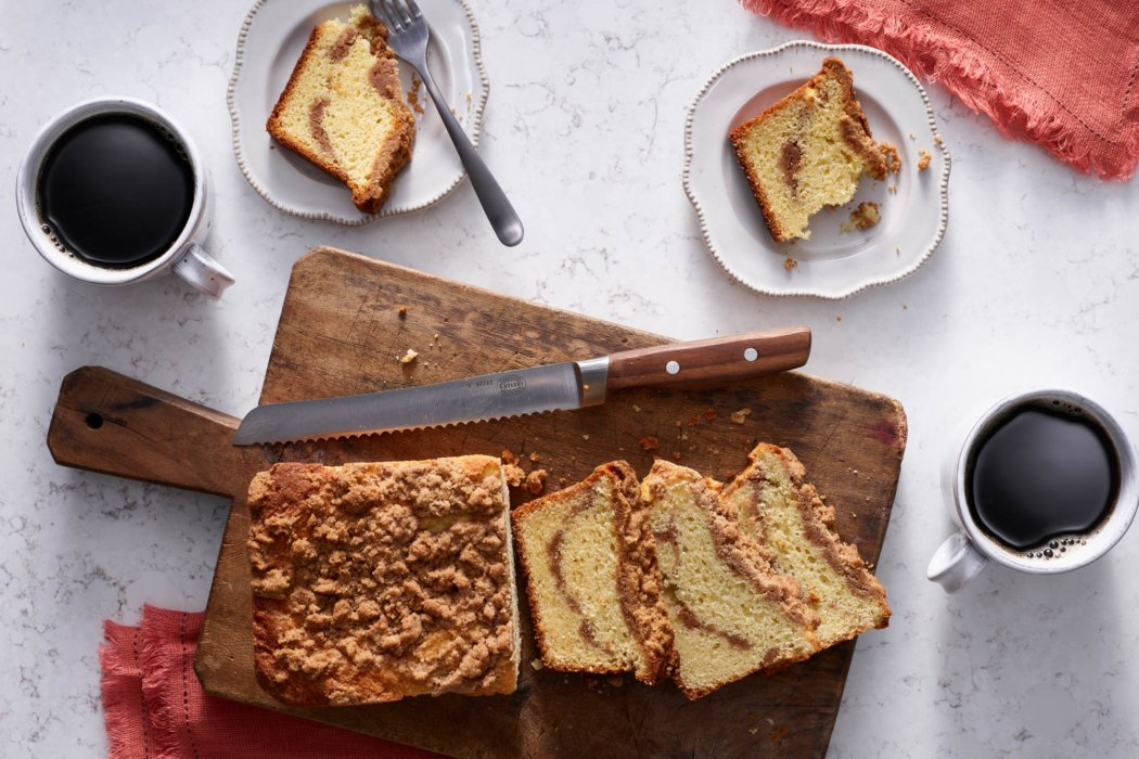 Coffee and fresh backed cinnamon pound cake