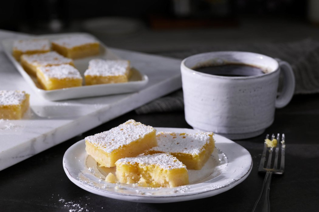 Coffee and lemon bars for breakfast
