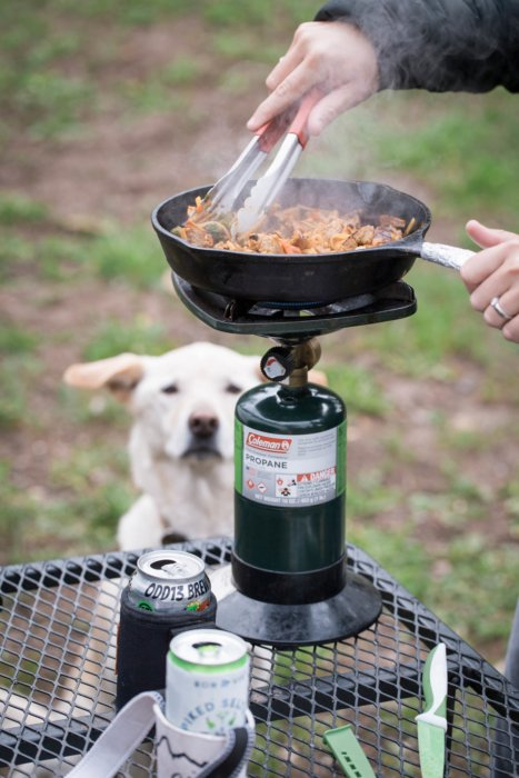 Cooking at a campsite with a dog