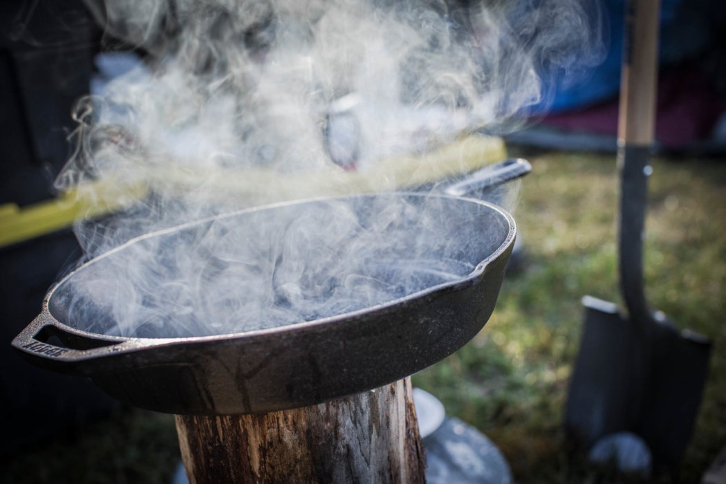 A camp site with a smoking lodge cast iron
