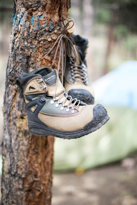 Boots hanging on a tree with simms boots