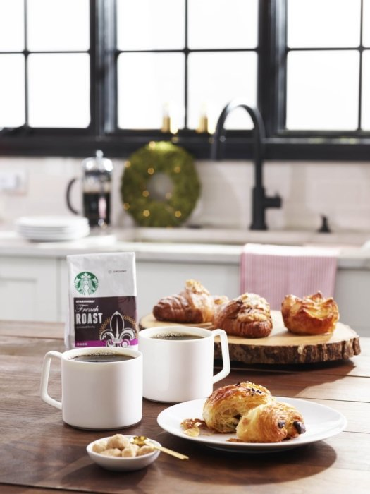 Starbucks french roast coffee with pastries