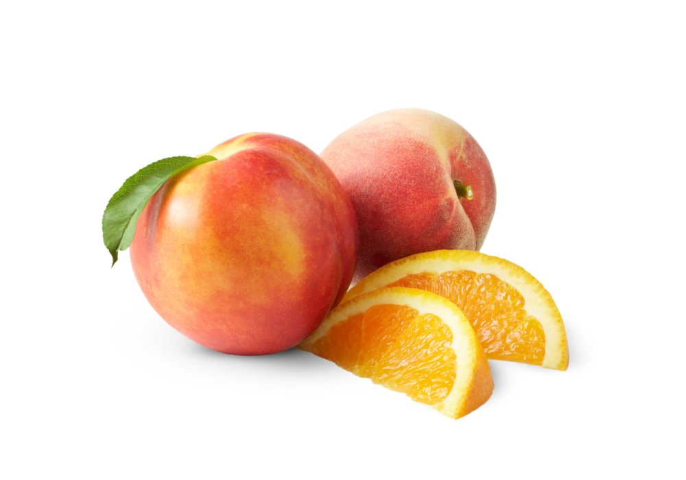 two peaches and oranges for packaging photogrpahy