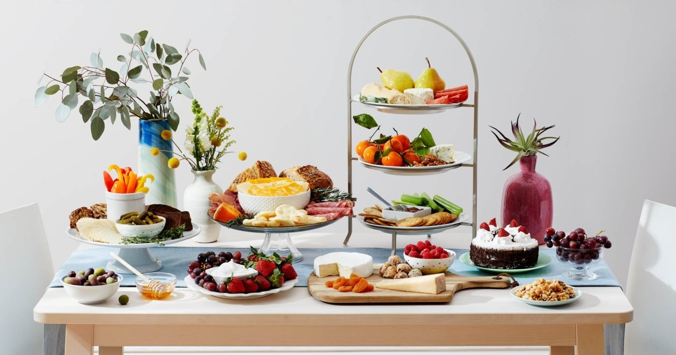 Food photography of a large spread