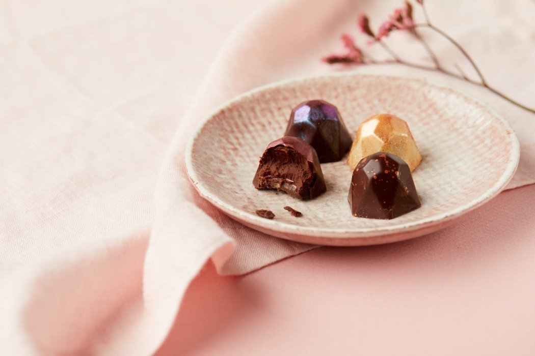 Candy truffles on a pick plate