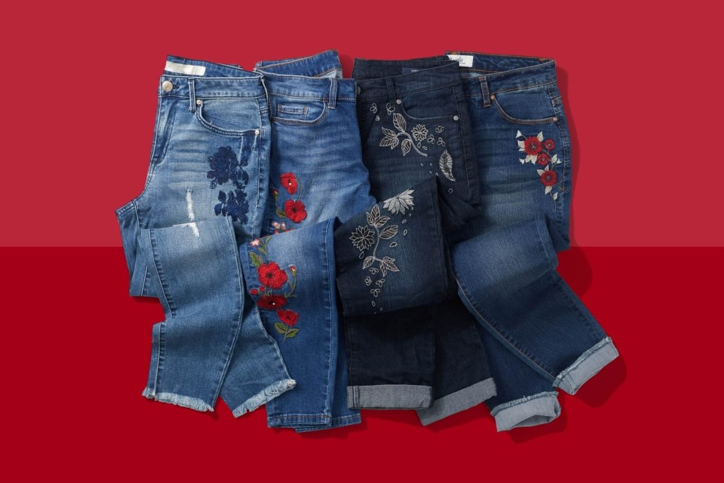 Jeans with stitched prints on them