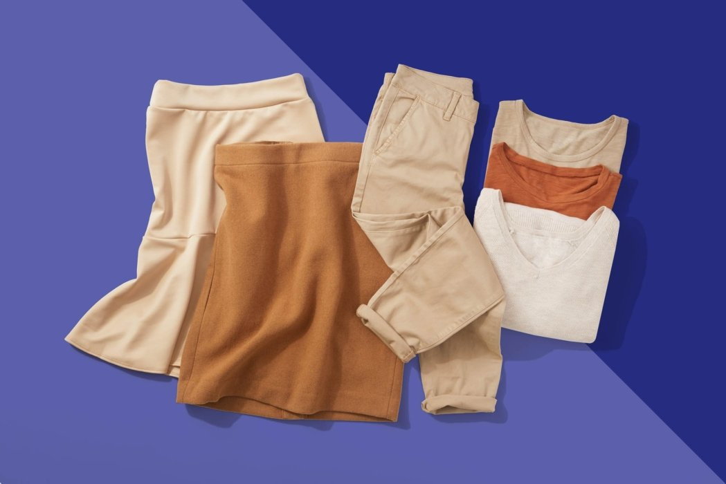 Tan clothing on a bright blue and off blue background